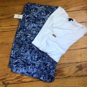 Talbots walking shorts with white T-shirt